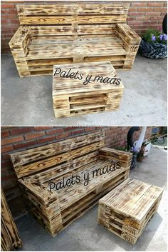 Use Pallet Wood Projects to Create Unique Home Decor Items Pallet Furniture Designs, Pallet Patio Furniture, Outdoor Furniture Plans, Wooden Pallet Projects, Pallet Sofa, Wooden Pallets, Pallet Ideas, Reclaimed Wood Furniture, Skid Furniture