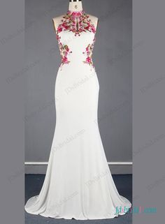 Unique chinese style halter backless mermaid wedding dress