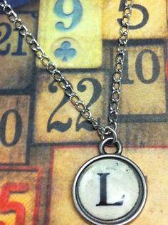 typewriter letter necklace