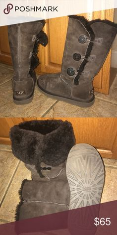 Bailey Button Triplet UGGs Chocolate brown, size 8, Bailey Button Triplet UGGs. Only worn a few times. UGG Shoes Winter & Rain Boots