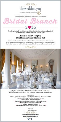 The Wedding Guy is delighted to announce the next Bridal Brunch, in September 2015 in association with the Stephens Green Hibernian Club, date yet to be 2015 Wedding Trends, Ireland Wedding, Unique Wedding Venues, Getting Married, Wedding Planning, Brunch, Wedding Day, Bridesmaid, Bridal