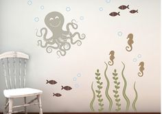 Wall Decal Set - Sea Ocean Friends - laundry room / guest bathroom
