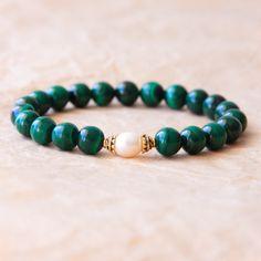 Yoga Bracelet, Buddhist Mala Bracelet, Mantra Jewelry, Malachite & Freshwater Pearl - Negative Energy Shield, True Desires, Feminine Energy