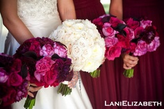 wine and pink bridesmaid bouquets