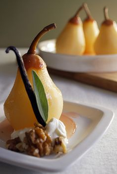 Poached Pears in Vanilla Sage Wine Sauce