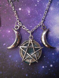 "Aaaaaannnd double ""WOW."" ♥  Triple Goddess Pentacle Moon necklace. $35.00, via Etsy."