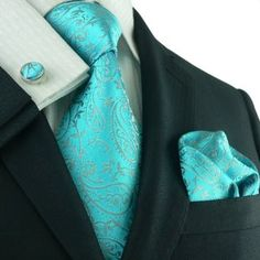 Wedding Suits Silk Necktie Set Color: Teal Length, Width Matching Cufflinks and Pocket Square - Silk Necktie Set Color: Teal Length, Width Matching Cufflinks and Pocket Square Sharp Dressed Man, Well Dressed Men, Fashion Moda, Mens Fashion, Fashion Outfits, Paisley, Traje Casual, Mens Silk Ties, Wedding Suits