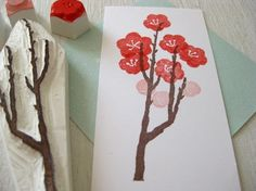 Japanese ume stamp set  Plum tree branch and by rubberstampme, $15.00