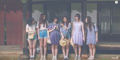 """K-Pop Fashion Inspiration: GFRIEND's """"Love Whisper"""" Music Video. Pretty blues and greens feature in these summery outfits."""