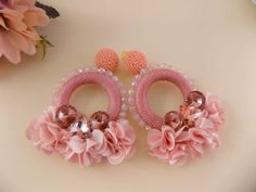 Camile Salmon PInk Hoop Earrings   Etsy Diy Lace Earrings, Earrings Handmade, Hoop Earrings, Soutache Jewelry, Beaded Jewelry, Silk Thread Bangles Design, Handmade Rakhi, Rakhi Design, Imitation Jewelry