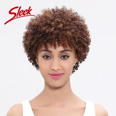 Sleek Kinky Curly Wigs Short  Human Hair Wigs Brazilian Curly Virgin Hair Afro Kinky Curly Wig Lace Wig Perruque Cheveux Humain ** Find out more by clicking the image