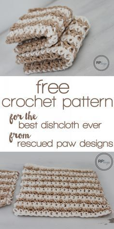 Free Crochet Pattern for the Best Dishcloth Ever from Rescued Paw Designs!
