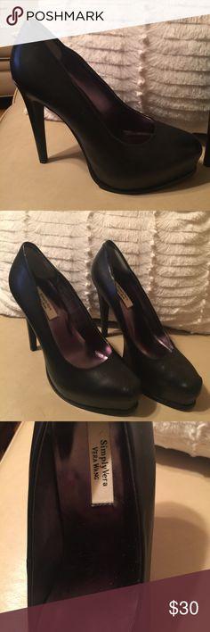 Simply Vera Wang black leather platform shoes...