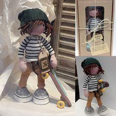 katxirula Crochet Baby Toys, Crochet Fabric, Crochet Doll Clothes, Crochet Doll Pattern, Diy Crochet, Crochet Dolls, Amigurumi Doll, Handmade Toys, Tricot