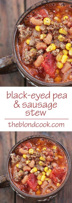 Quick and EASY Black-Eyed Pea & Sausage Stew that comes together in just 30 minutes!