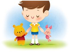 A fun little Piglet and Pooh with Christopher Robin. Thanks to Rogie for the advice.
