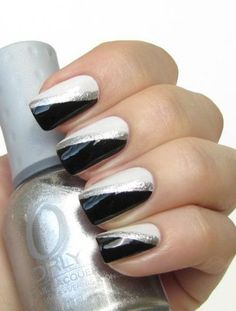 Silver and White Glamour Nail Art Designs 2016