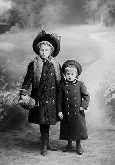 ~+~+~ Antique Photograph ~+~+~  Older sister and her little brother ready for winter.  1912