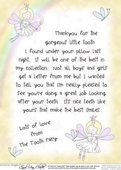 Letter from The Tooth Fairy on Craftsuprint designed by Carol Clarke - A letter from The Tooth Fairy. A wonderful keepsake for a child. Watch their eyes light up when your child receives a letter from The Tooth Fairy. Just print and send!This letter is also available as part of a kit together with envelopees, tooth fairy boxes and backing paper etc - Now available for download!