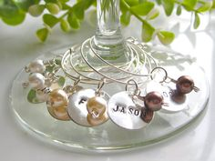 Personalized Hand Stamped Custom  Wine Charms Set of 8 ,by cocowagner, $26.90