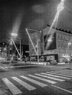 Entrapment by Michaela Sibi - Vienna 5th district Crossing Reinprechtsdorfer Straße/Naschmarkt (the big sticks and lights are a lightinstallation), in a cold January night, trapped by a pattern