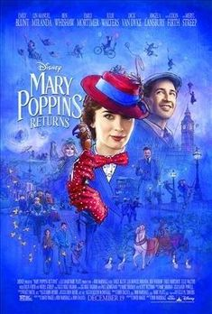 In MARY POPPINS RETURNS, Michael Banks and his sister Jane are now adults. Michael has children of his own, who are in desperate need of a nanny because they have lost their mother. This lovely movie encourages the value of family and the importance of imagination. This award-winning movie is full of delightful entertainment with spectacular dance numbers and sweet, endearing songs. It features Emily Blunt, who is delightful as Mary Poppins, along with Lin-Manuel Miranda and other stars. 2018 Movies, New Movies, Disney Movies, Disney Pixar, Good Movies, Movies Online, Latest Movies, Family Movies, Prime Movies