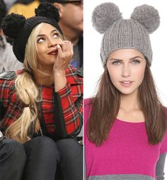 I want that! Beyoncé is totes adorbs at the Nets v. 76ers game wearing a Eugenia Kim 'Mimi' double pom pom beanie.