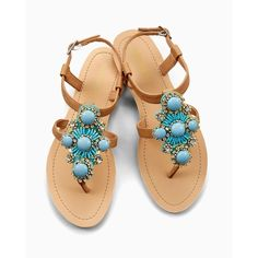 Soma Olivia Miller Turquoise Stone Flat Sandal ($34) ❤ liked on Polyvore featuring shoes, sandals, turquoise, beaded flat shoes, beach sandals, decorating shoes, olivia miller shoes and flat sandals