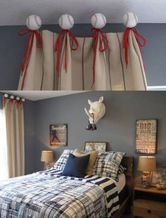 A Playful Baseball Themed Window Treatment Any Kid Would Love In Boys Bedroom The