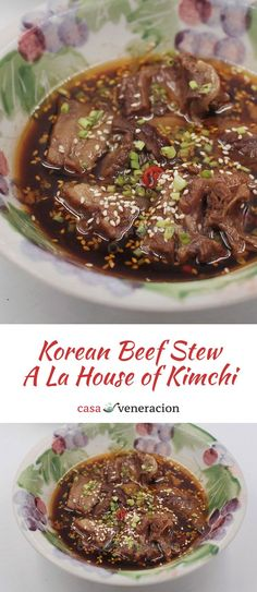 Korean beef stew a la House of Kimchi: Deconstructed recipe from the Korean beef stew of the House of Kimchi (now defunct). Stewing beef is slow cooked in bone broth, seasonings and spices.