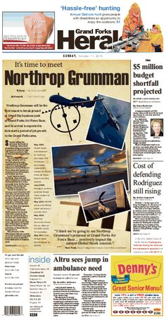 October 11, 2015 Northrup Grumman  #GrandForksHerald #Newspaperdesign #Frontpage