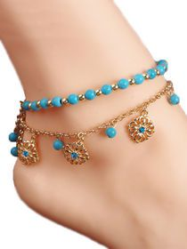 Anklet Jewelry New Unique Bohemia Two Piece Flower Charm Tassel Chain Turquoise Beads Sandal Anklet Blue Tassel Bracelet, Anklet Bracelet, Beaded Sandals, Beaded Anklets, Fashion Jewelry, Women Jewelry, Stylish Jewelry, Anklet Jewelry, Chain Jewelry
