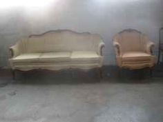 1920's style Sofa & chair with wood trim - $350 (Leominster)