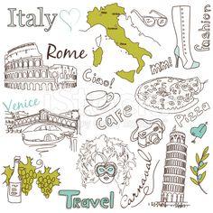 stock-illustration-28033500-sightseeing-in-italy-doodles-.jpg (556×556)