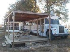 Converted School Bus Permanent Campsite