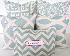 THROW PILLOWS Set of 2 PICK Two Spa Blue 20x20 by SayItWithPillows, $33.95