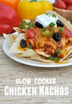 Slow Cooker Chicken Nachos: only a few ingredients, 10 minutes of prep, for a delicious, customizable, party appetizer or weeknight dinner! #crockpot