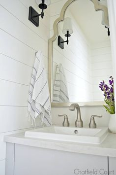 The best white paint colors for your bathroom and the rest of your home. I'm sharing 5 popular choices plus my favorite white paint ever and how you can find one for your own home. Best White Paint, White Paint Colors, White Paints, Basement Paint Colors, Tiny Powder Rooms, Powder Room Vanity, Room Additions, Small Bathroom, Loft Bathroom