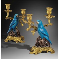 A PAIR OF GILTBRONZE MOUNTED CHINESE TURQUOISE PORCELAIN CANDELABRA, THE PORCELAIN CHINESE 18TH CENTURY, THE MOUNTS IN LOUIS XV STYLE, 19TH CENTURY  Sotheby's