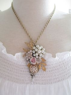 Vintage Jewelry Assemblage Flower Garden Necklace OOAK Cluster Collage Necklace  #PendantNecklace