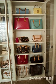 Ikea Billy Bookcase with glass doors for purses....