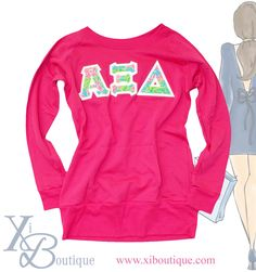 Lilly Pulitzer Alpha Xi Delta lettered hot pink sweatshirt http://www.xiboutique.com/store.cfm/product/pink-lilly-sweatshirt