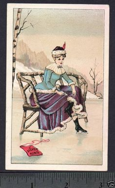 §§§ : New Patent Ice Skate. The Silver King. : 19th century trade card