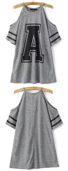 Shop Grey Cold Shoulder A Print Loose T-Shirt online. ROMWE offers Grey Cold Shoulder A Print Loose T-Shirt & more to fit your fashionable needs. Shirt Refashion, T Shirt Diy, Cut Shirts, Cool T Shirts, Dance Outfits, Cute Outfits, Diy Fashion, Fashion Outfits, Diy Dress