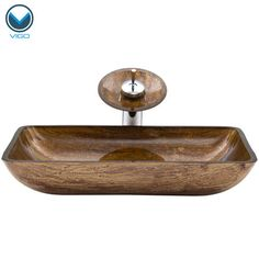 VIGO Rectangular Amber Sunset Glass Vessel Sink and Waterfall Faucet Set in Chrome at Menards