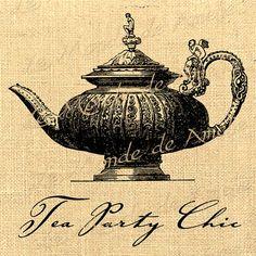 Party Chic  teapot tea cup romantic remaissance vintage graphic art ephemera  original gift tag label napkins burlap pillow Sheet n.503. $1.00, via Etsy.