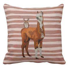 #chic - #LLAMA & ANTLER OWL  Pillow
