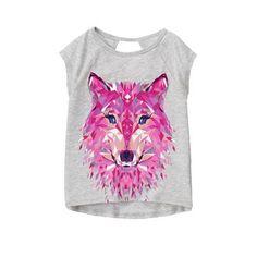 Girls Heather Grey gymgo Wolf Tee by Gymboree