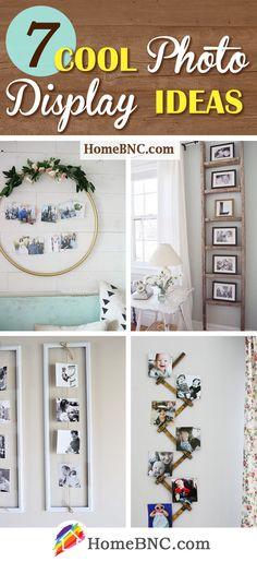 Photo Display Ideas Wall Decor Arrangements, Picture Arrangements, Displaying Family Pictures, Display Family Photos, Diy Photo, Home Photo, Hanging Photos, Diy Hanging, Simple Pictures