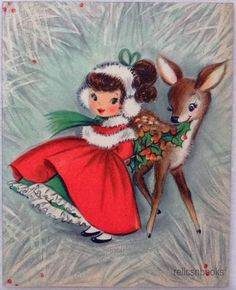 #752 50s Pretty Little Girl & the Deer- Vintage Christmas Card-Greeting